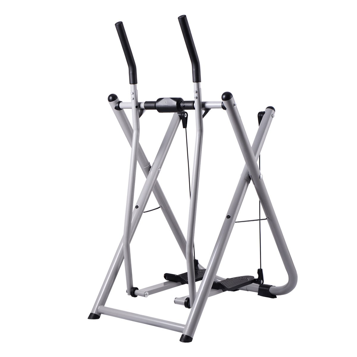 COSTWAY Folding Air Walk Trainer Fitness Exercise Elliptical Machine Stepper Glider for Gym Home Office with LCD Monitor