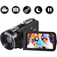 """Camcorder Camera Full HD 1080p Video Camera 24.0MP 18x Digital Zoom 3.0"""" LCD 270° Rotation Screen with Remote Control"""
