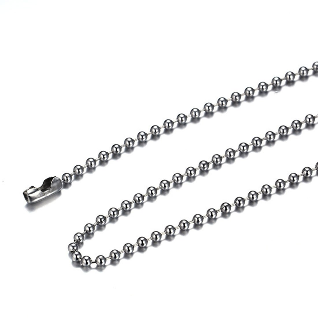 FOXI YOUTH 2.4MM Thick Stainless Steel Ball Chain Link Necklaces 24''
