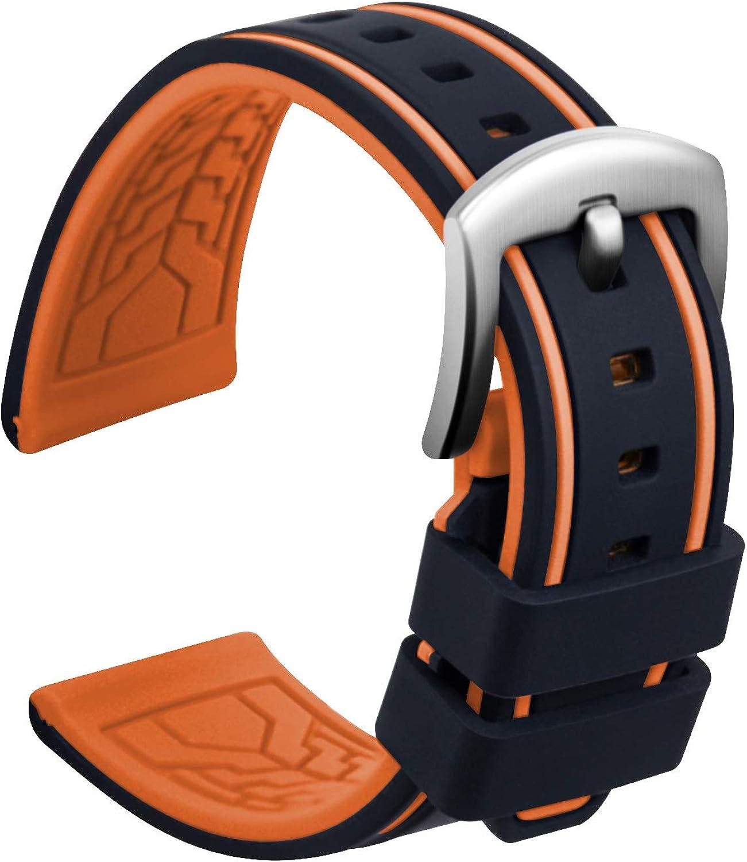 Ullchro Correa Reloj Recambios Correa Relojes Caucho Bicolor Hombre Mujer - 20, 22, 24, 26mm Silicona Correa Reloj con Hebilla de Acero Inoxidable Cepillado Plata