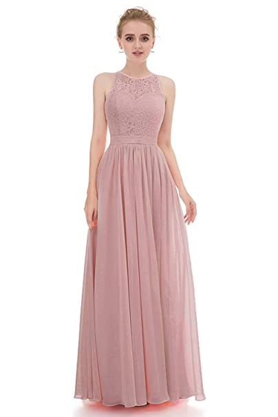 Annadress Bridesmaid Dresses Long Homecoming Dresses Chiffon Lace Prom  Dress 2018 A,Line Evening Dress for Women