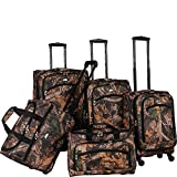 Cheap American Flyer Camo 5-Piece Spinner Luggage Set, Green, One Size