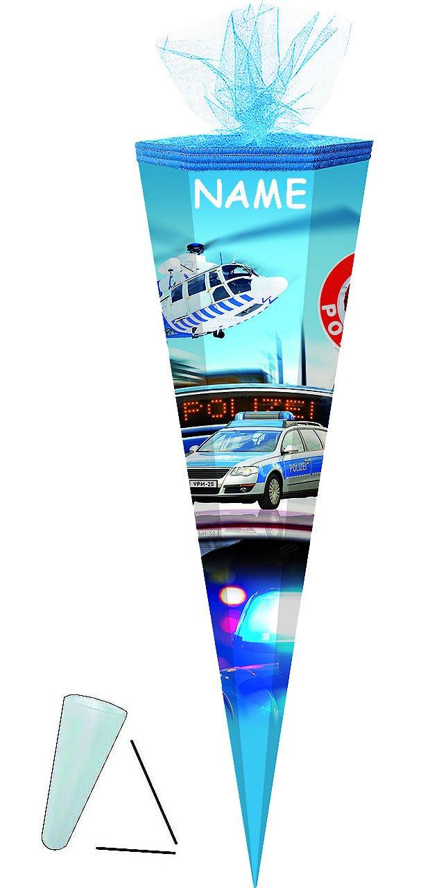 mit // ohne .. 6-eckig oder rund 50 // 70 // 85 cm Zuckert/üte ALLE Gr/ö/ßen Schleife alles-meine.de GmbH personalisierte 3D B/änder Polizei Auto // Hubschrauber passend f/ür Schult/üte