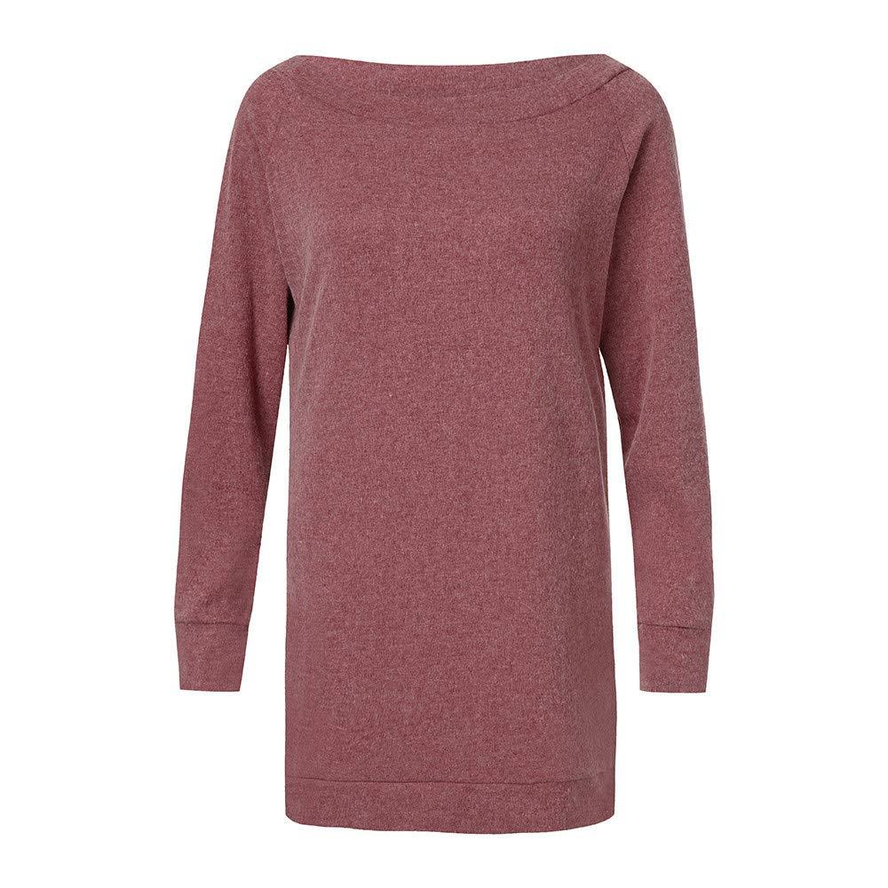 Sannysis Women Long Sleeve Solid Blouse Sweatshirt Pullover Casual Tops Shirt, Red XL