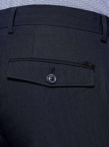 oodji Ultra Hombre Pantalones de Algodón con Pinzas Azul (7900O)