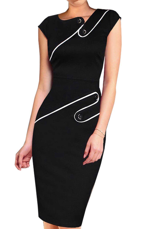 Colyanda Women's Vintage Wear to Work Cap Sleeve Business Pencil Sheath Dress(Black S)