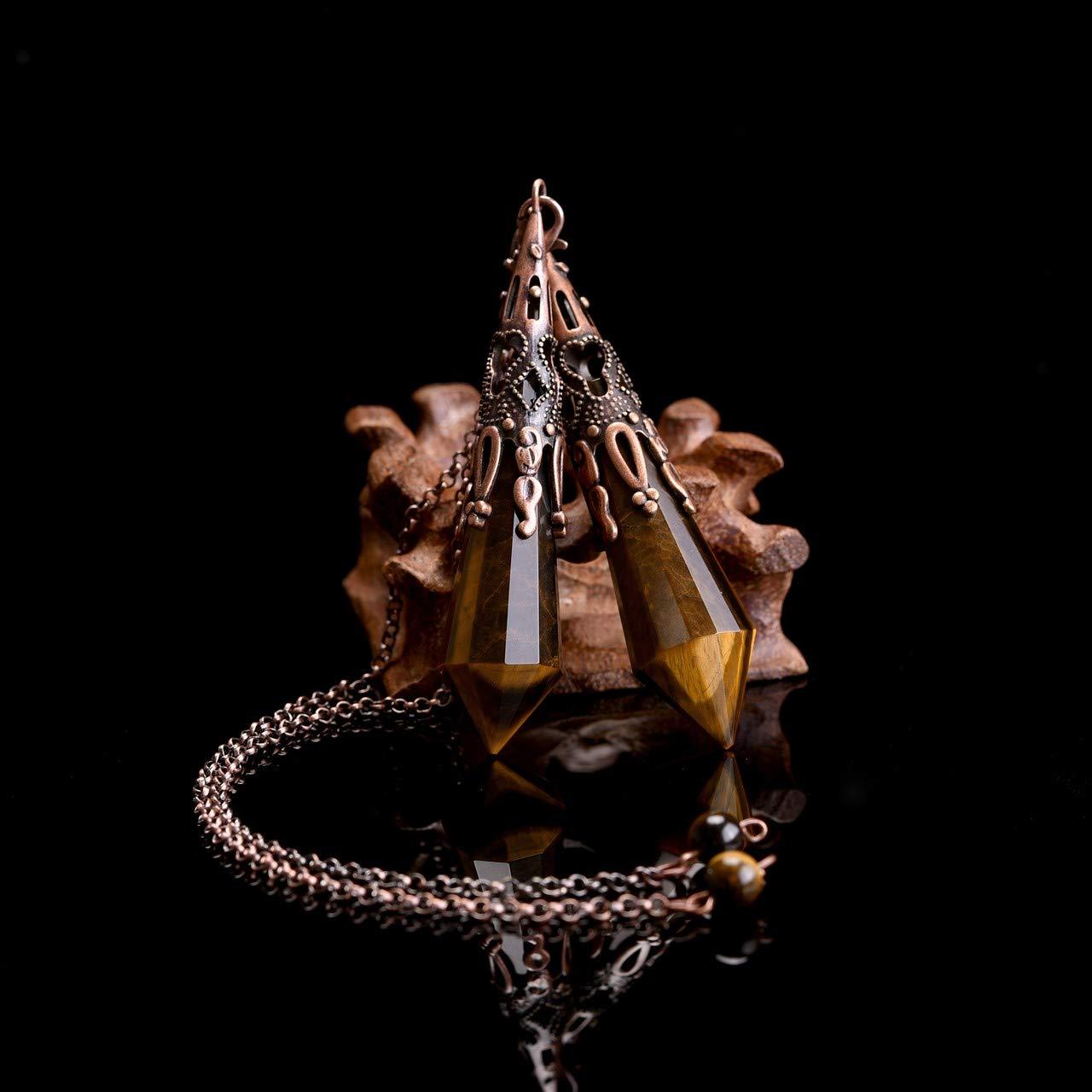 Jovivi Pendule Pierre Pr/écieuse Am/éthyste Quartz Rose Oeil de Tigre Obsidienne Pendule pour Radioesth/ésie Divination Cristalloth/érapie Pendentif