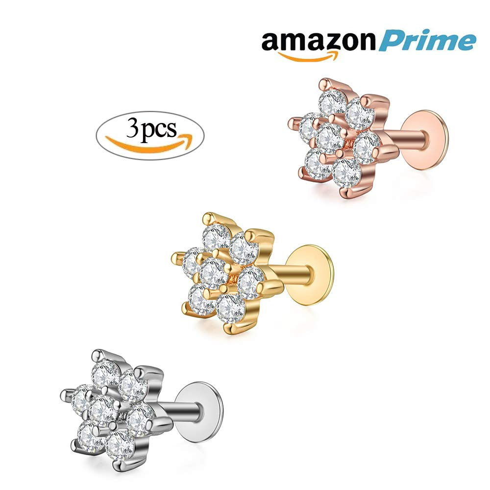 Gabry&jwl 3Pcs CZ Lip Studs Lip Rings Flower-Shape Labrets Helix Cartilage Tragus Flower Earring Studs Piercing 16G Stainless Steel(Silver+Rose Gold+Gold)