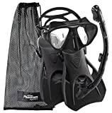 Phantom Aquatics Speed Sport Signature Mask Fin Snorkel Set, Adult, Black Medium Medium, 7-10, All Black