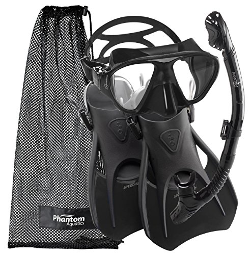 Phantom Aquatics Speed Sport Signature Mask Fin Snorkel Set, Adult, Black Medium Medium, 7-10, All Black