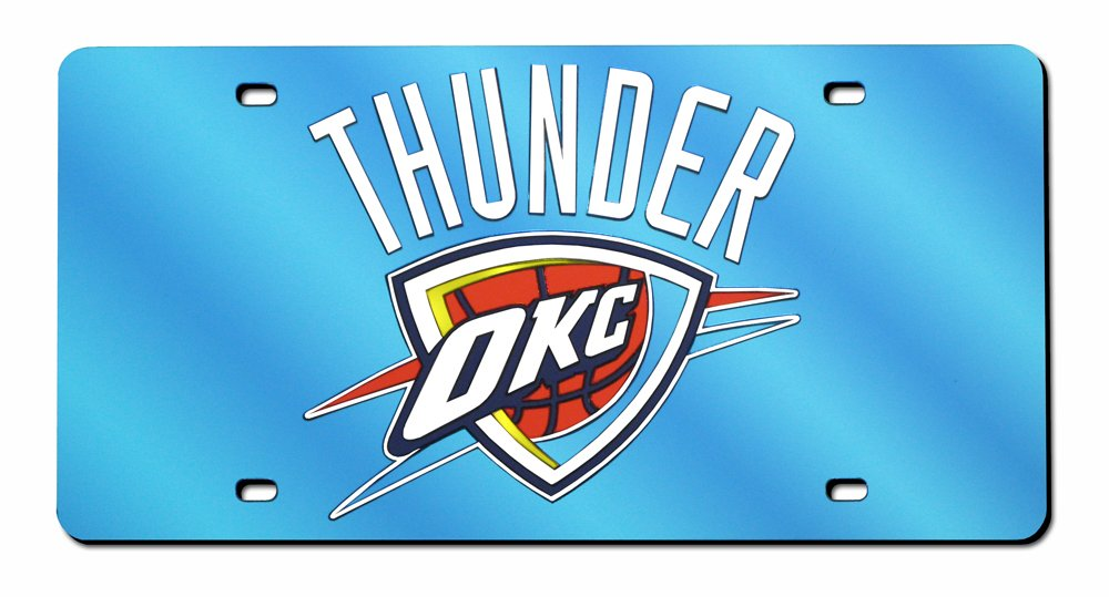 Rico Industries NBA Oklahoma City Thunder Laser Inlaid Metal License Plate Tag