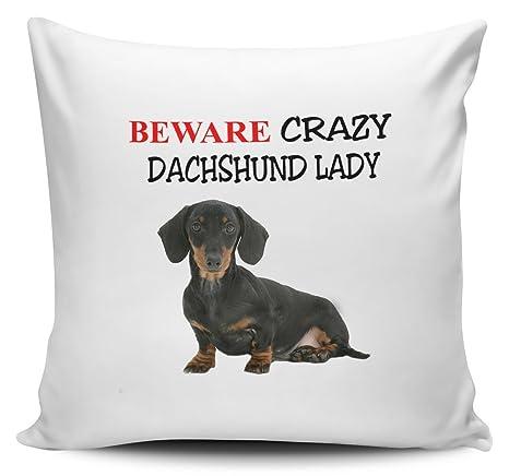Cuidado con Crazy de perro salchicha Lady funda para cojín ...