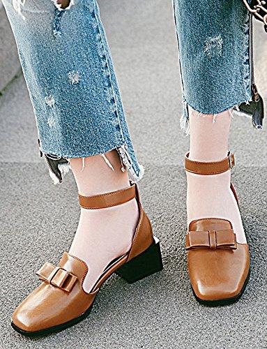 Idifu Mujeres Fashion Tobillo Tobillo Square Toe Mid Chunky Bombas De Tacón Alto Zapatos Con Arcos Amarillo