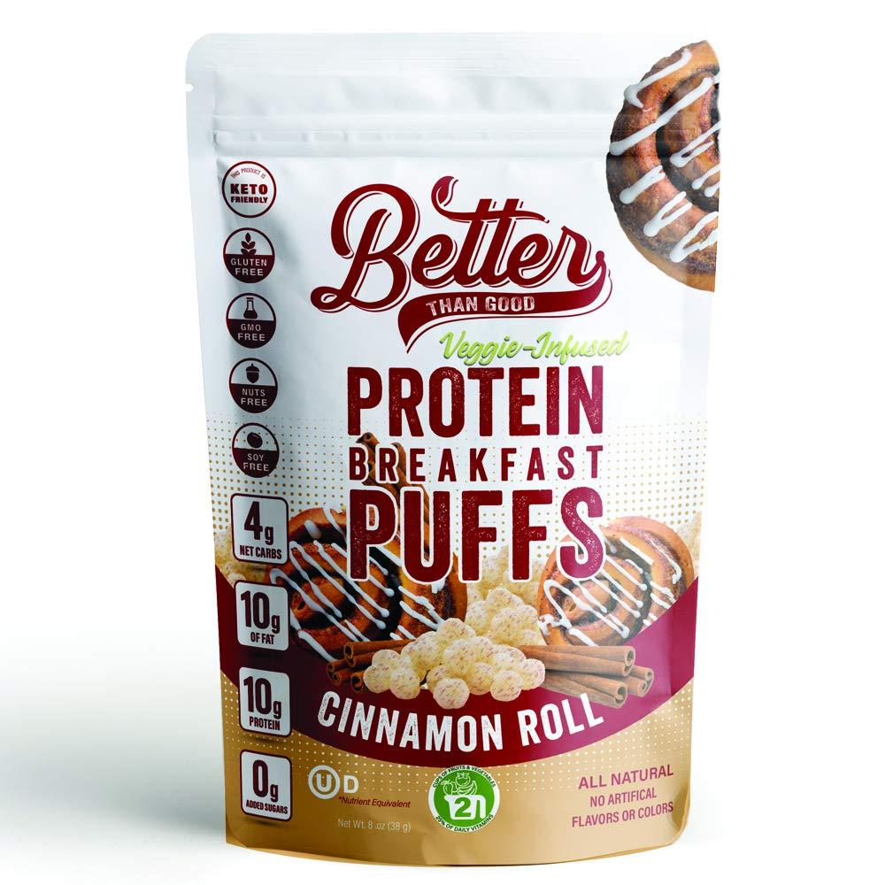 BETTER THAN GOOD Keto Protein Puffs | Cinnamon Roll Crunch | 2.2 Oz Bag | 10g Protein, 2 Servings of Fruits & Veggies | Paleo, Low Sugar, Low Calories, Gluten Free, Diabetic Friendly Keto Snacks