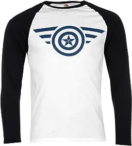Capitán América – Camiseta Marvel Comics – Hombre Blanco/Negro Top T Camisa, blanco/negro: Amazon.es: Deportes y aire libre