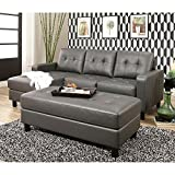 New Luxury Traditional Elegant Design Emily Leather Chaise with nailhead trim, Bonded Leather Upsholtery (Grey)