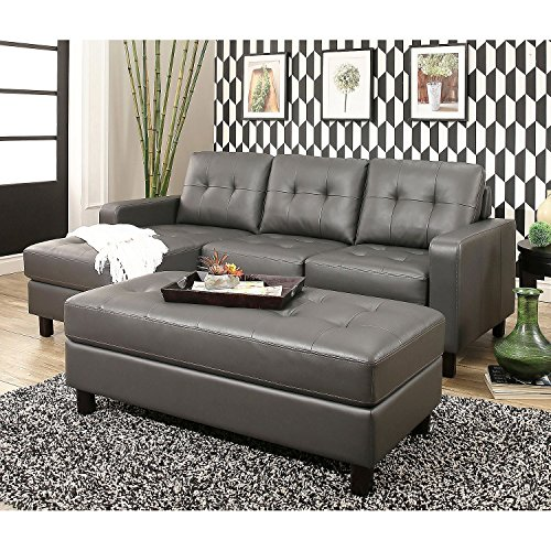 New Luxury Traditional Elegant Design Emily Leather Chaise with nailhead trim, Bonded Leather Upsholtery (Grey) price