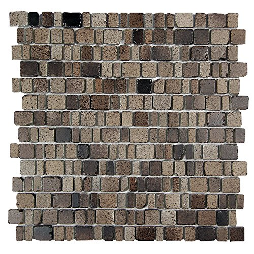 Ice Age Rock Rustic Glass Tile - Glass With Brown Brick Stone Finish - Perfect for Shower Walls, Kitchen Backsplashes, Floors (4 x 6 Inch Sample) ()