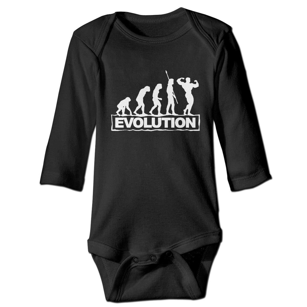 Evolution Bodybuilder Printed Baby Boys Long Sleeve Bodysuit Jumpsuit Outfits