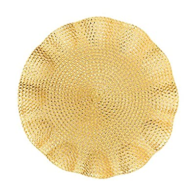 LinenTablecloth Round Ruffled Placemats (2 Pack), Gold - Placemats sold in Packs of 2 Ruffled edges for extra style Diameter measures 15.5 in - placemats, kitchen-dining-room-table-linens, kitchen-dining-room - 61RwBqEaWlL. SS400  -
