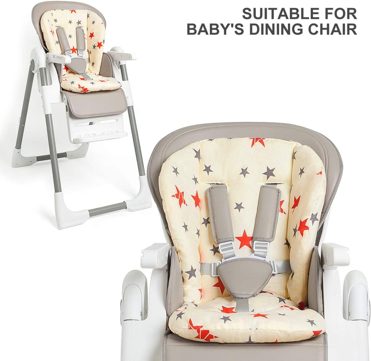 NUOBESTY Baby Stroller Cushion Pad,Pure Cotton Stroller Car High Chair Seat Cushion Liner Mat Cover Protector for Infants