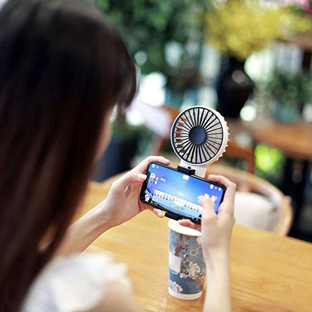 White GrmeisLemc Fashion Mini USB Rechargeable Adjustable Speed Phone Holder Handheld Cooling Fan