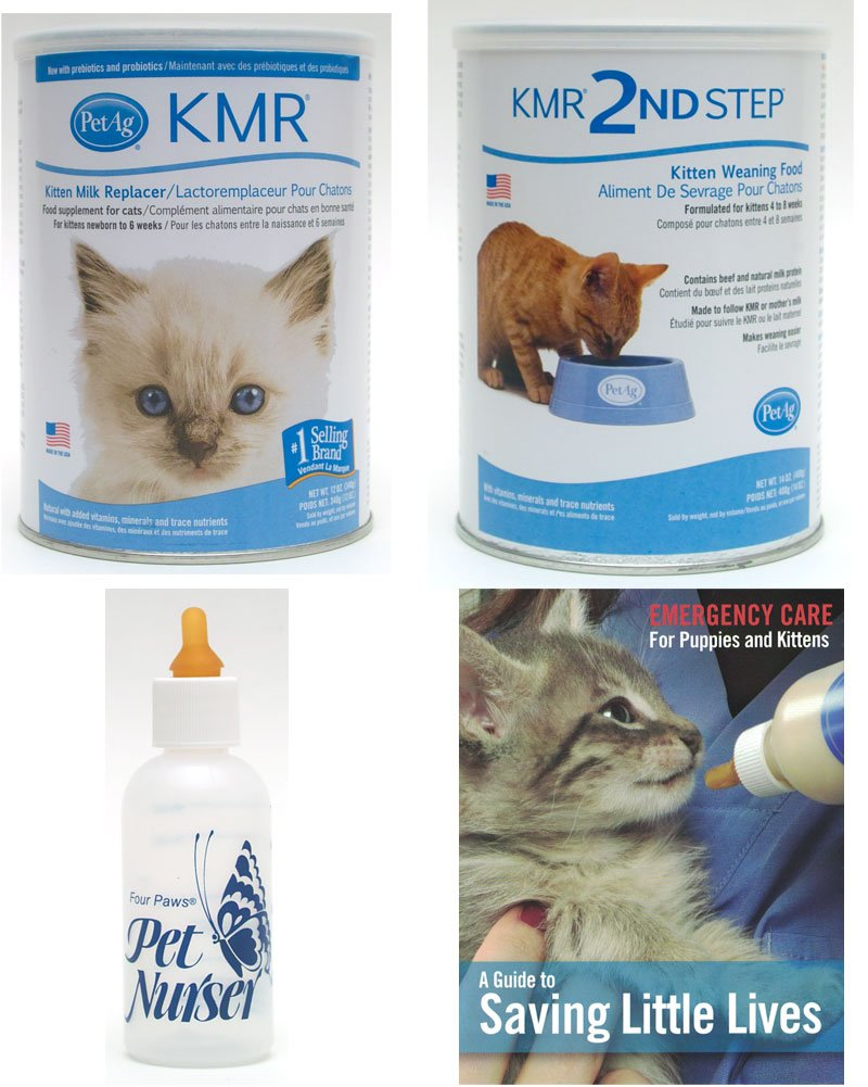 KMR Kitten Milk Replacer Powder for Kittens & Cats 12oz Bundle with Four Paws Kitten Nursing Bottle 2oz with PetAg KMR 2nd Step Kitten Weaning Food Powder 14oz with Saving Little Lives brochure