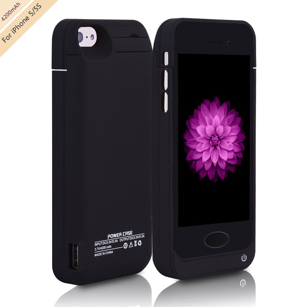 For iPhone 5/5s Charger Case, BSWHW 4200mAh 4'' iPhone 5/5s Portable Battery Bank with Built-in Kickstand Extended Juice Bank Rechargeable Power Battery Pack Backup,Black