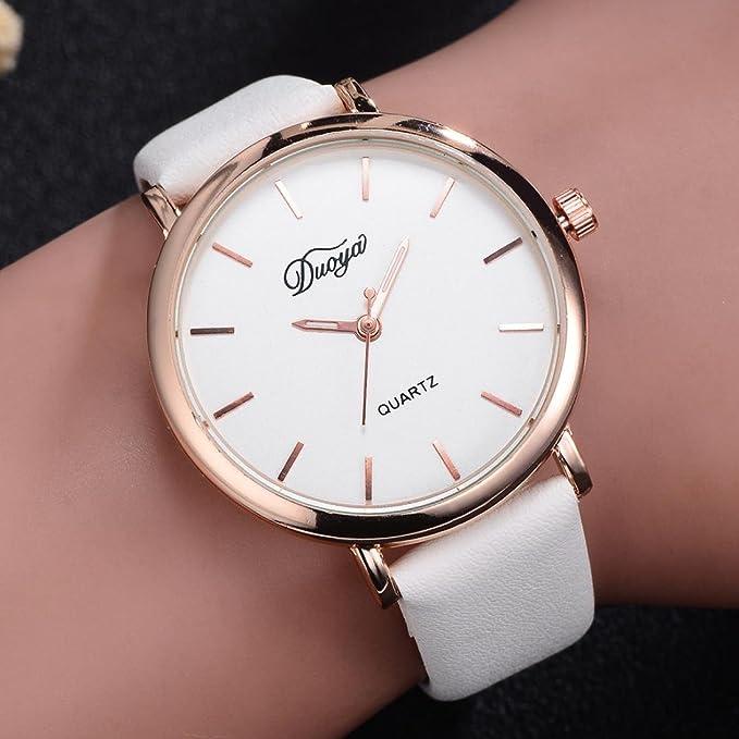 Amazon.com: auwer reloj hombre cuarzo reloj de moda mujeres ...
