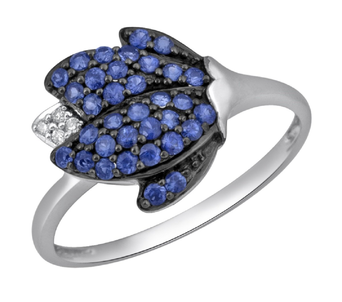 Christmas Sale !! , Christmas Gift, Unique, Rare, One of a Kind, Jewel Ivy 14K White Gold Ring with Blue Sapphire and Diamond, US-7.25 Size