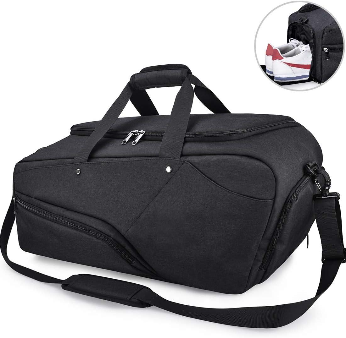Bolsa de Deporte Hombre Bolsas Gimnasio Mujer de Grande Viaje Impermeablecon Compartimento para Zapatos Bolsos Deportivos Bolsa Fin de Semana Travel Duffle Bag para Hombres 45l Negra