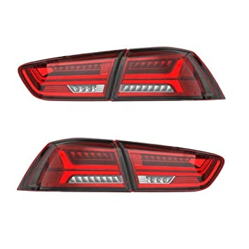 Beau AOEDI LED Tail Lights For Mitsubishi Lancer/EVO X 2008 2017 Audi Style Red