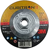 3M Cubitron II Depressed Center Grinding Wheel T27 Quick Change, Precision Shaped Ceramic Grain, 13300 RPM, 4-1/2'' Diameter x 1/4'' Thick, 5/8''-11 Arbor, 36+ Grade (Pack of 1)