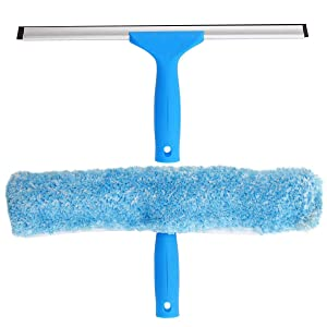 """MR.SIGA Professional Window Cleaning Combo - Squeegee & Microfiber Window Scrubber, 14"""""""