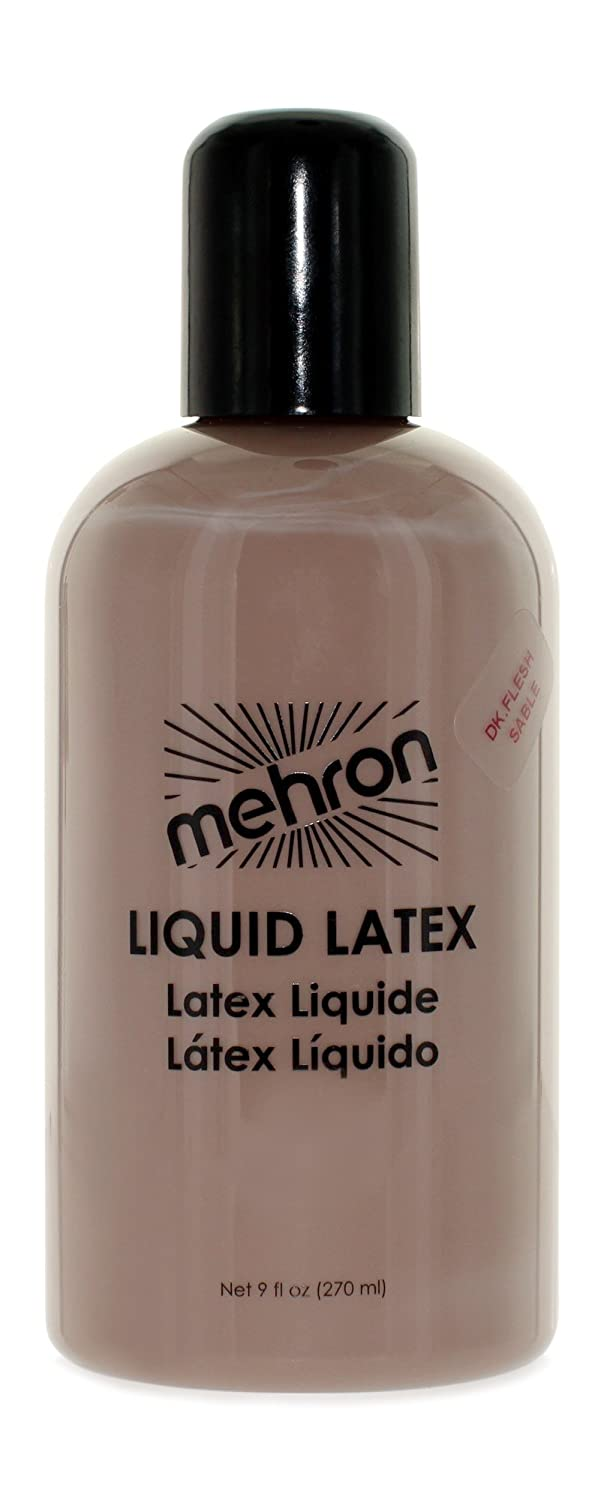 Mehron Makeup Liquid Latex for Special Effects; DARK FLESH- 4.5oz
