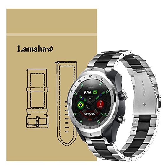 for TicWatch Pro Band, Lamshaw Stainless Steel Metal Replacement Straps for TicWatch Pro/TicWatch S2 / TicWatch E2 Smartwatch Band (Silver-Black)