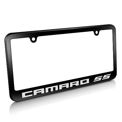 Amazon.com: Chevrolet Camaro SS Matte Black Metal License Plate ...