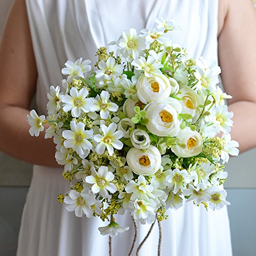 Daisy Rose Wedding Bouquet - Zebratown 8'' Daisy Chrysanthemum Bridal Bridesmaid Bouquets Artificial Rose Silk Flowers Bouquet Home Wedding Decoration (Yellow)