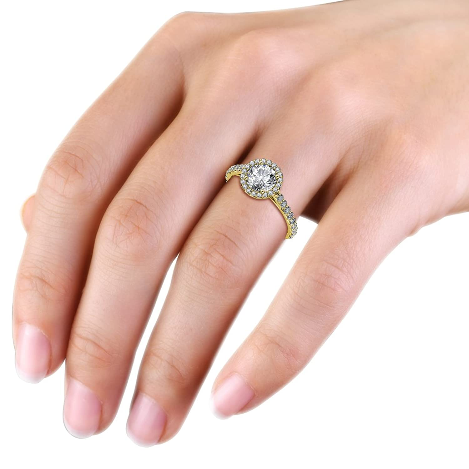 Diamond Halo Engagement Ring 1.12 ct tw in 14K Yellow Gold | Amazon.com