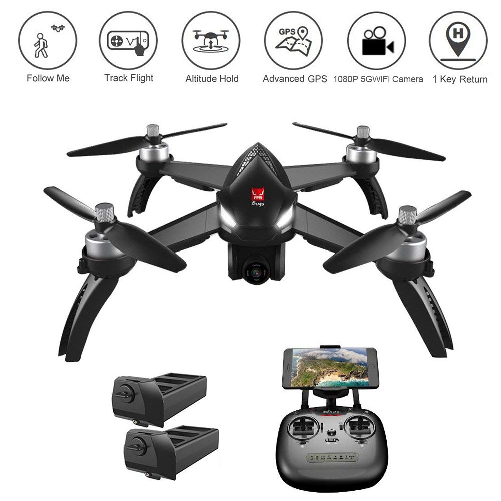 YOUDirect MJX Bugs 5W B5W FPV 1080P 5G WiFi Camera Drone GPS Smart Return RC Quadcopter 2.4GHz Remote Control 6-Axis Gyro Helicopter, Altitude Hold, Follow Me, Headless Mode, Track Flight, 2 Battery