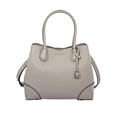 13306e79b Amazon.com: Michael Kors Mercer Gallery Medium Leather Satchel - Pearl Grey:  Shoes