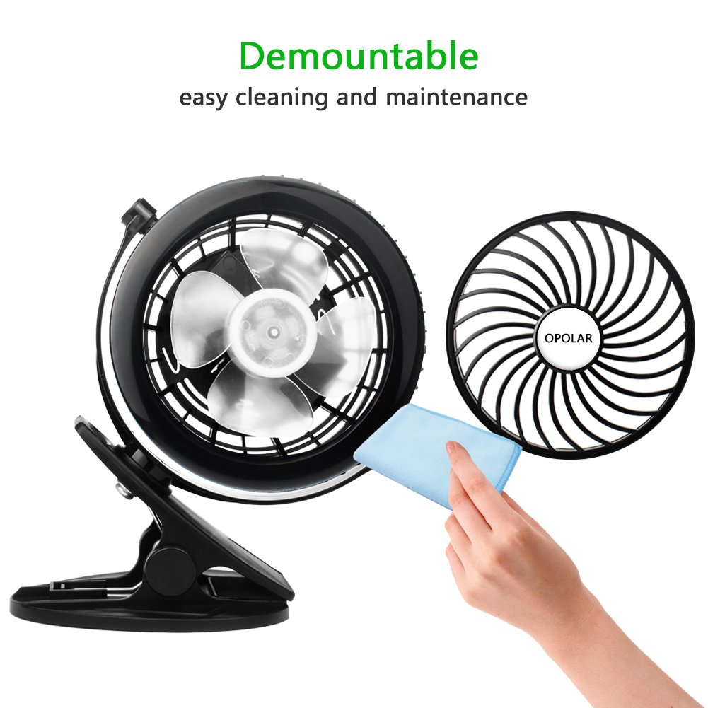 Personal Clip or Desk Fan with 3 Speeds Multi Versatile for Hurricanes 360 Adjustable Wind Baby Stroller and Outdoor 10-1000-F901C Car Powered by USB or 2200mAh Rechargeable Battery OPOLAR Battery Clip on Fan