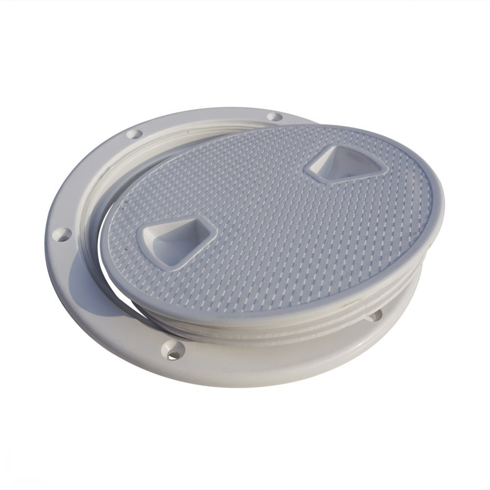 ECO LLC 6'' Marine Screw Out Deck Plate Inspection Hatch Plastic Boat Round With Detachable Cover(Outer Diameter: 7.8'',Inner Diameter: 5.94'')