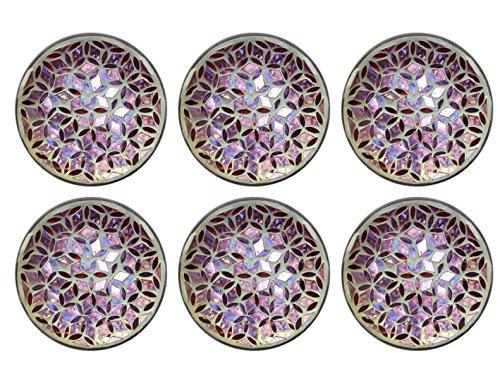 Biedermann & Sons Pink Floral Mosaic Glass Plates (Box of 6) -