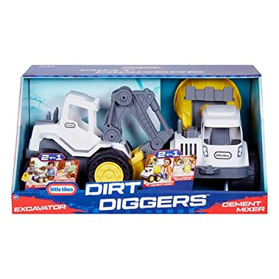 Toys Dirt Diggers with Excavator & Cement Mixer, 2 in 1: Toys & Games