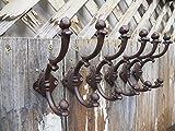 Big Sky Antiques Lot of 6 Beautiful Large 7'' x 4.5'' Fancy Ornate Cast Iron Coat Hat Hooks Hangers- Heavy Duty