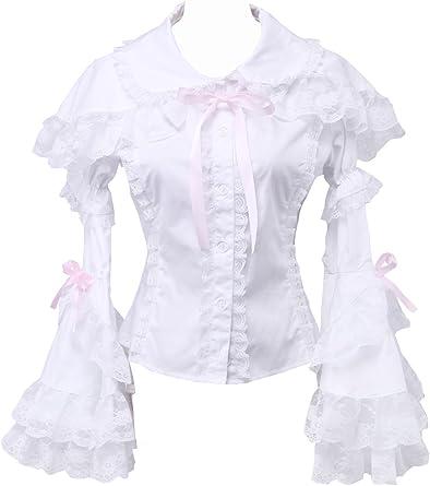 an*tai*na* Blanca Algodón Rosa Encaje Volantes Sailor Collar Victoriana Camisa Blusa de Mujer: Amazon.es: Ropa y accesorios