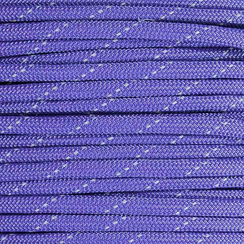 Reflective Type III 550 Paracord - Purple - 10 Ft Hank - 7 Strand Core - 100% Nylon, Parachute Cord, Commercial Paracord, Survival Cord