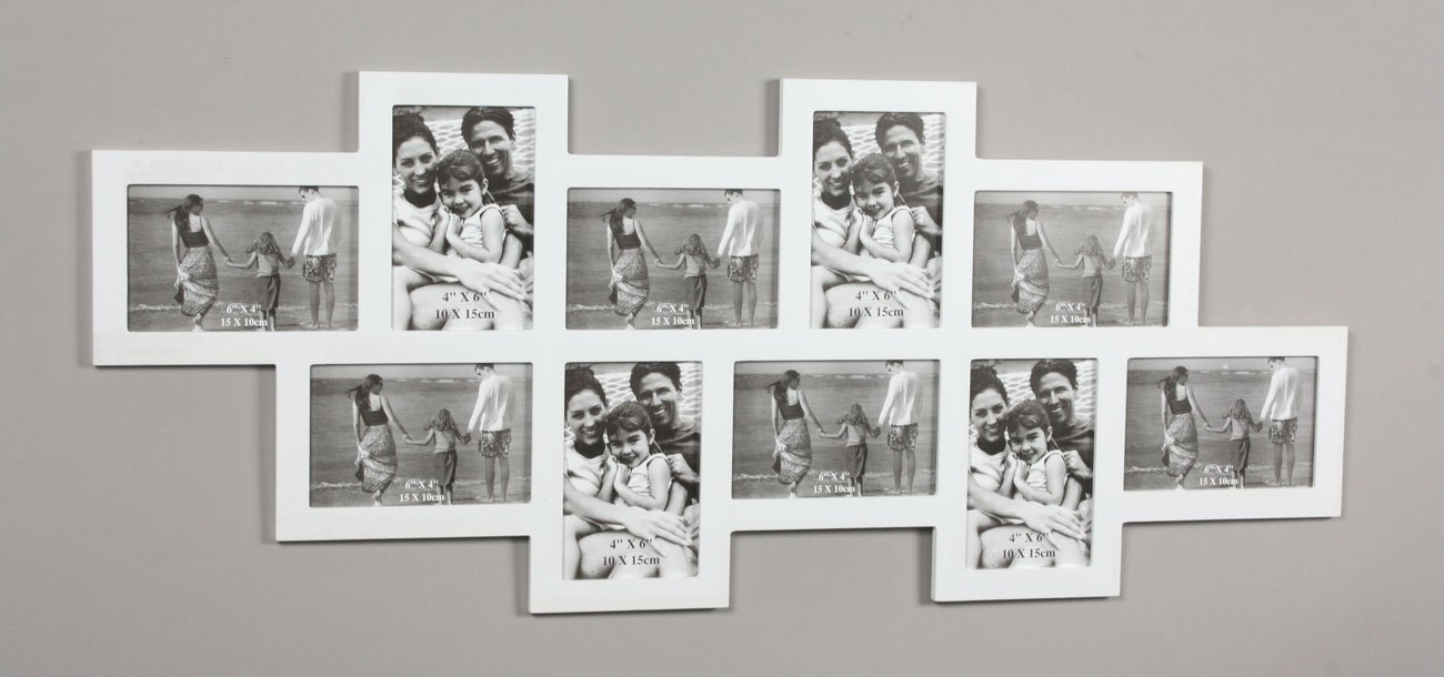 Amazon.de: levandeo Fotocollage Weiß 83x34cm mit Glasscheiben aus ...