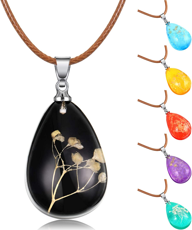 6 Piezas Collares de Flores Secas Luminosas Collar Colgante de L/ágrima de Encanto para Mujeres Ni/ñas 6 Colores